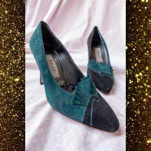 Bally Heel Vintage Art Deco Nouveau Pleated Sz 7